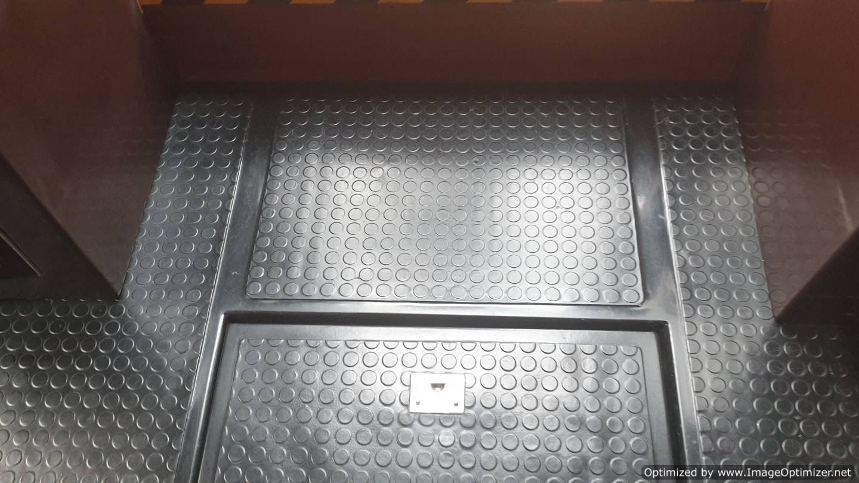 coin studded rubber floor